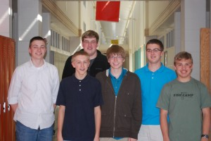 Team members, from left, are Grant Carlson, Robert White, Bryce Carter, Alek Jansen, Andrew Cox, and Noah Williams.  The team is coached by Barb McCollom and Charlie Wappes. (Photo provided)
