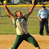 Wawasee pitcher Gabi Routson deals against Lakeland at the Fairfield Softball Sectional.