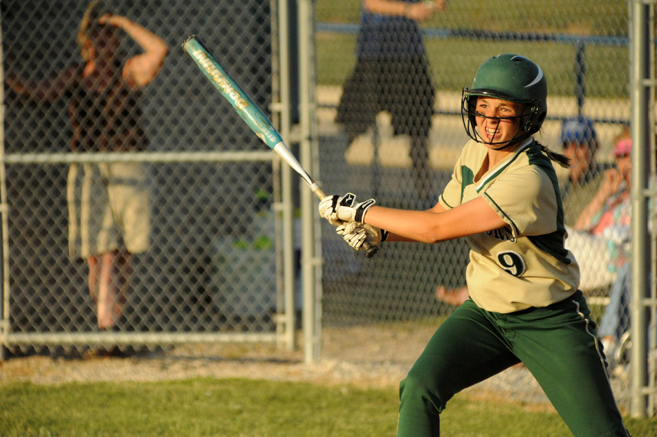 Wawasee's Alli Ousley follows through on a swing against Lakeland at the Fairfield Softball Sectional championship. Lakeland would win the title, 2-0, for its first sectional title since 1998. (Photos by Mike Deak)