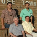 The new owners of Oakwood Inn, shown in front are Ian Rolland, left, receiver for the Oakwood property; and Dr. J.Rex Parent, a noted eye surgeon. In back are Jason Parent and J.R. Parent who will be actively helping in getting the hotel up and running again with a goal of summer 2013. (Photo by Lauren Zeugner)