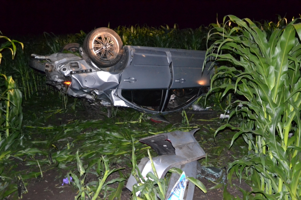 A Warsaw man was airlifted from the scene of this crash near Atwood early this morning. (Photo provided)