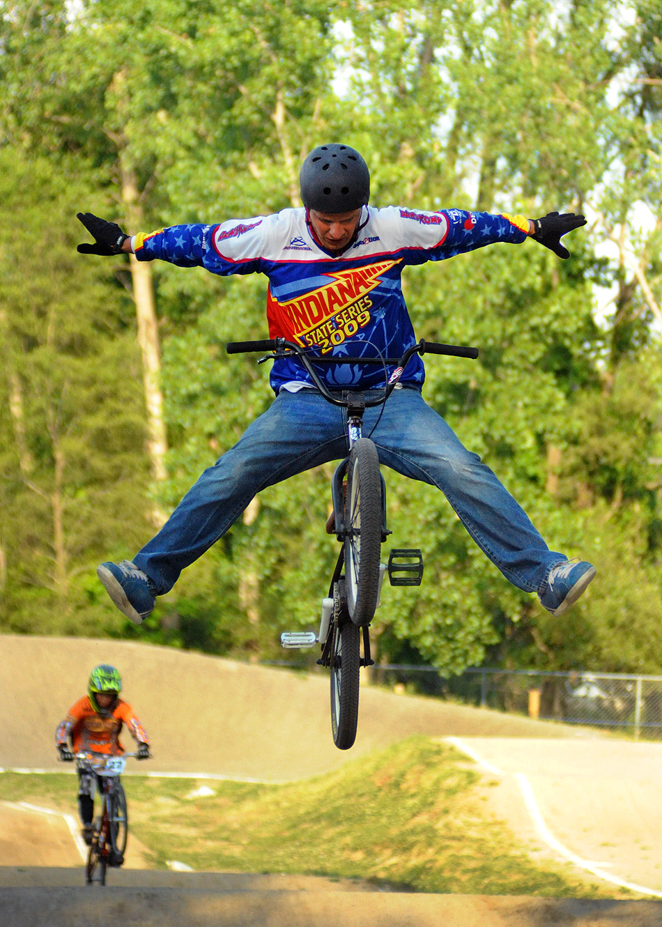 Pro rider Chris Gerber takes flight during a practice run at Hire Park.