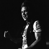 Jacoby Shaddix of Papa Roach reacts to the fans at Piere's.
