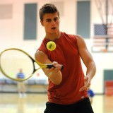 Zac Erba sends his tennis ball wayward within the obstacle course during the Tournament of Champions.