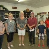 CRAFTS - Open class winners of the crafts division at the Kosciusko County Community Fair, from left, are Rose Pemberton, Sue Earl, Mona Pifer, Paul Berkey, (Best of Show), Matheson Hertel, and Tammy Wise. Not pictured are Sharodene Morris and Merl Montel.