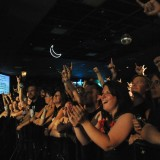 Fans react during Sevendust's set at Piere's Friday night.