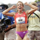 Plymouth native Morgan Uceny celebrates Sunday night after winning the 1,500 meter race to qualify for the Olympics.
