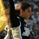 The Purdue cheerleaders celebrate one of Purdue's first-half touchdowns.
