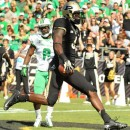 Purdue receiver Gary Bush reaches the endzone in the first quarter against Marshall, one of his three scores on the day. The Boilermakers beat the Thundering Herd 51-41 at Ross-Ade Stadium. (Photos by Mike Deak)
