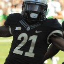 Purdue cornerback Ricardo Allen celebrates after returning an interception 39 yards for a touchdown against Marshall.