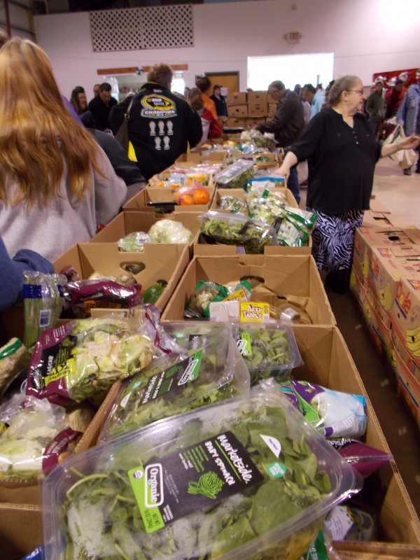 Food items, such as fresh produce, are made available through Food Bank of Northern Indiana's mobile food pantry.