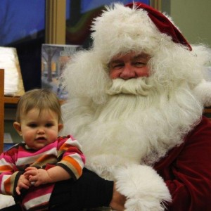 Ally Marshall met Santa for the first time on Friday in South Whitley. Her brother, Chase Marshall, also had his time with Santa.