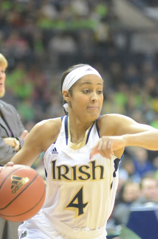 Notre Dame star Skylar Diggins heads to the hoop Saturday during a 74-47 rout of Purdue in South Bend.