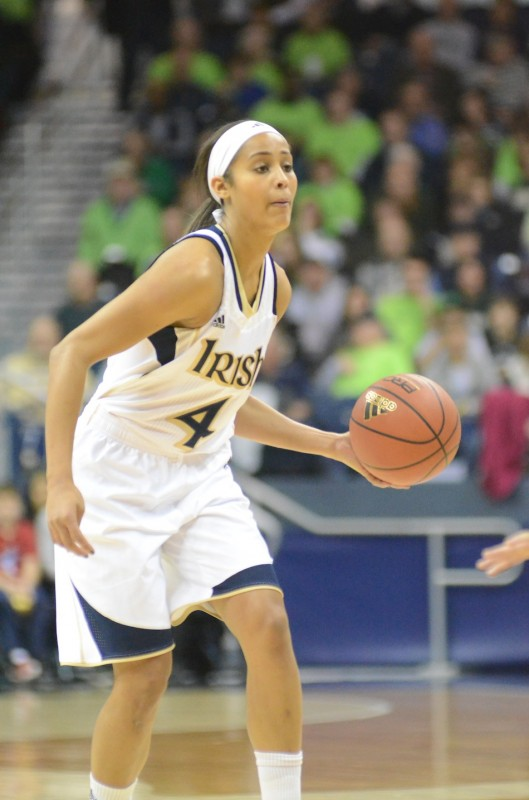 Irish guard Skylar Diggins runs the show Saturday. The senior All-American from South Bend netted 16 points in a 74-47 blowout of Purdue.
