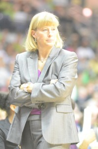 Purdue coach Sharon Versyp looks on Saturday. The former Indiana Miss Basketball from Mishawaka saw her No. 11 Boilers fall 74-47 to the No. 5 Irish.
