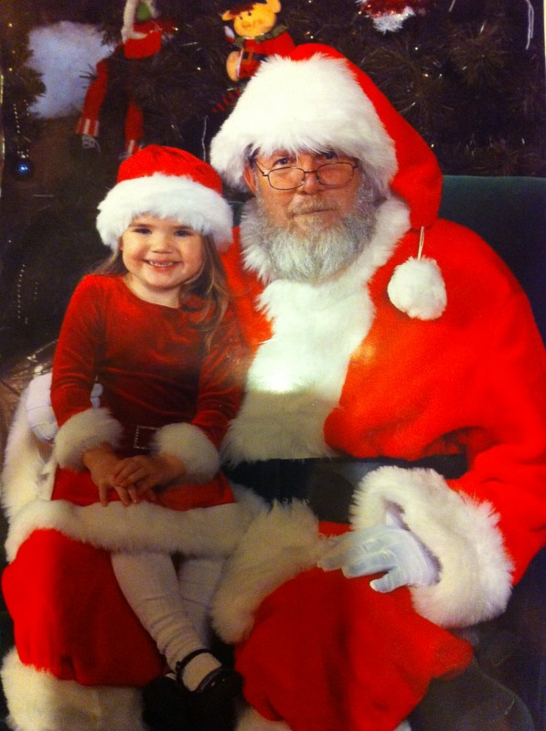 Emma Gerber and Santa Claus.