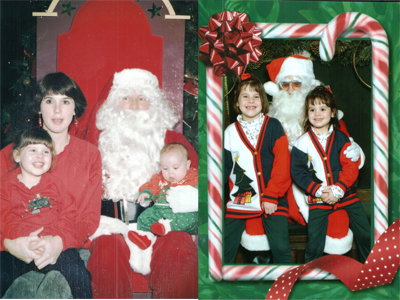 """The photo on the left is """"Christmas 1990, when we lived in Indianapolis,"""" wrote Stephanie Heine of Leesburg. """"It was my daughter, Maggie Heine's first Christmas, and I am holding my older daughter, Maddy Heine Wong, who was 3 at the time. This is a special picture because this was the first time Maddy wasn't afraid of Santa.""""In the photo on the right, Maddy, age 7, and Maggie, age 5, with Santa at Marshall Field's in downtown Chicago in 1995. """"It was specialbecausewe took the train in, and the girl's grandparents were there on that magical day,"""" tells the girls' mom, Stephanie. """"This was also the last Christmas Maddy believed in Santa."""""""