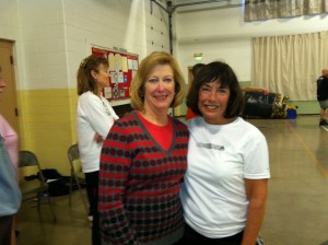 Shown are two participants in the Pickle Ball Holiday Tournament, held Dec. 20 at the Warsaw Armory. From the left are Susan Sharp, Syracuse, winner of the B flight and Sherry Lantz, Syracuse. (Photo provided)