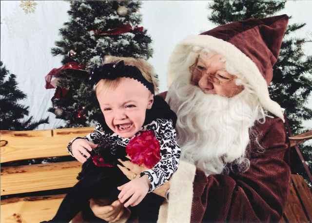 We sure hope Payton Brumfield, only 14 months, isn't forever traumatized by her first meeting with Santa.