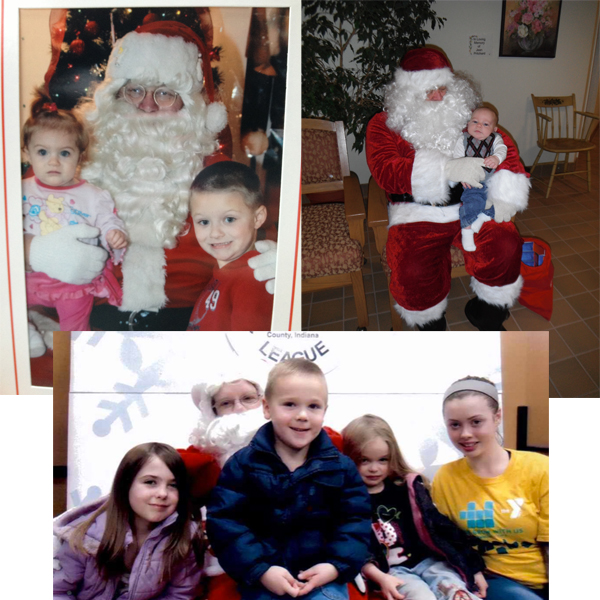 From top left are Howie, 4 years old, and his sister, Addalyn, 9 months old. Addalyn wasn't quite sure what to think of Santa and cried until her bubby sat with her.At top right is Wyatt, 7 months, meeting Santa at the Mentone Library.  In the bottom photo are Brystal, Joshua, Aryanna and Destini.
