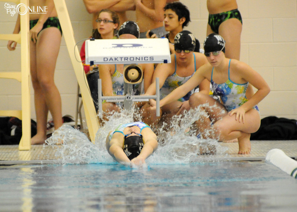 Wawasee's Betsy Rozow fires off the block to open the medley relay at Northridge Thursday night. (Photos by Mike Deak)