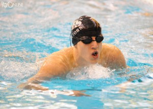 Andrew Busse works his way through the individual medley at Northridge.