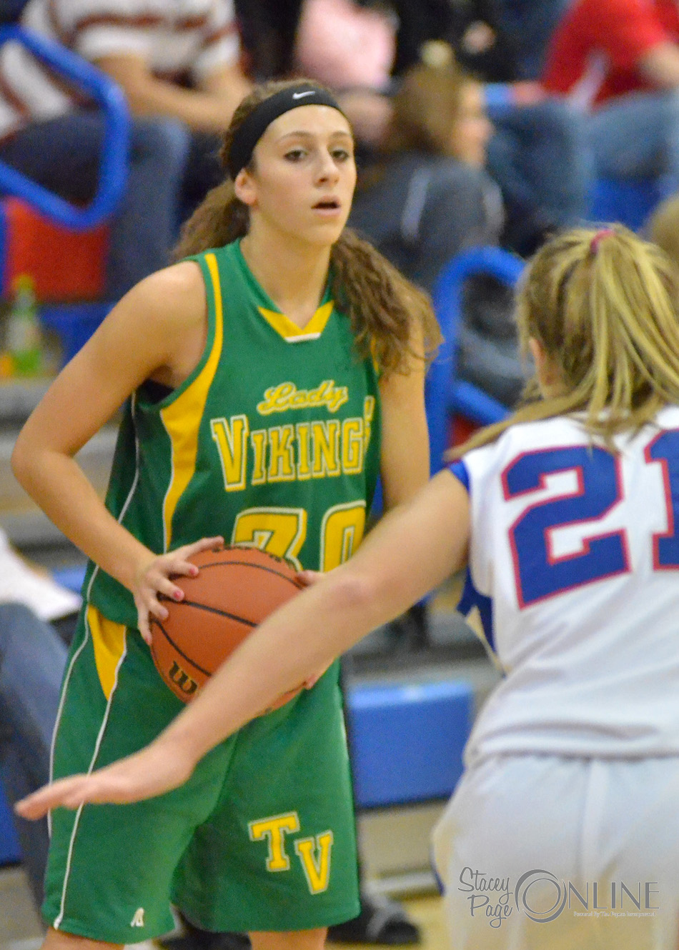 Tippecanoe Valley guard Caylie Teel looks for a teammate over Whitko defender Melanie Kelsey. (Photos by Nick Goralczyk)