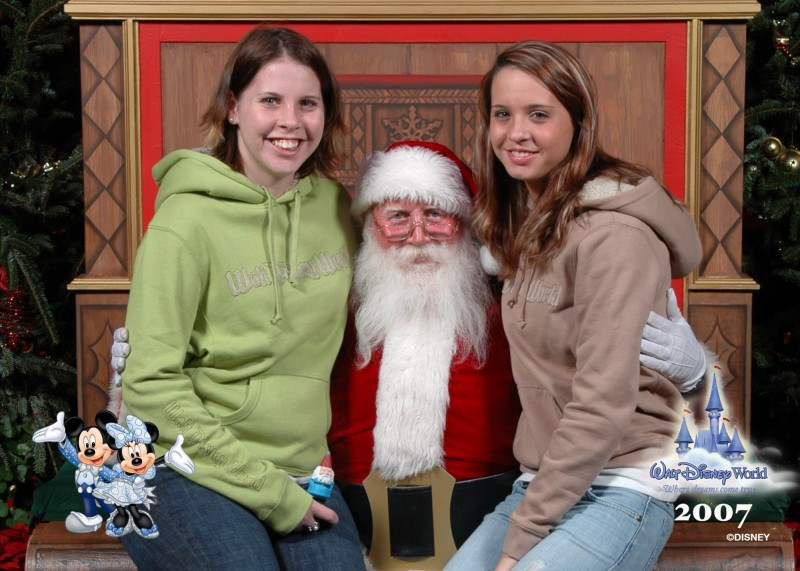 """The last picture the Heine sisters took together with Santa was in 2007 at Disney world. Maddy Heine Wong is on the left, and Maggie Heine is on the right. Maddy was 20 and Maggie was 17. """"We went there that Christmas because my husband had died in September of that year, and we wanted a special Christmas,"""" wrote Stephanie."""
