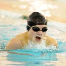 Zach Taylor of Warsaw works through his breaststroke led of the IM.