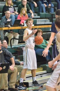 Wawasee's Gage Reinhard looks to inbounds the ball versus Central Saturday night in Syracuse (Photo by Nick Goralczyk)