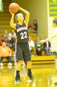 Guard Eryn Leek looks for a teammate during action at Northridge Saturday night.