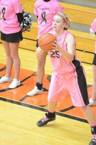 Senior guard Lindsay Baker prepares to let fly with a 3-pointer versus Carroll. Baker scored a game-high 20 points as Warsaw improved to 14-0.