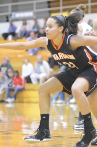 Jennifer Walker-Crawford gets in position Saturday night versus Concord. The senior standout had 12 points to help Warsaw remain undefeated.