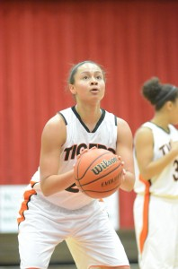 Senior Jennifer Walker-Crawford eyes a free throw attempt. She hit 7-of-8 from the line in scoring 17 points Thursday night for undefeated Warsaw.