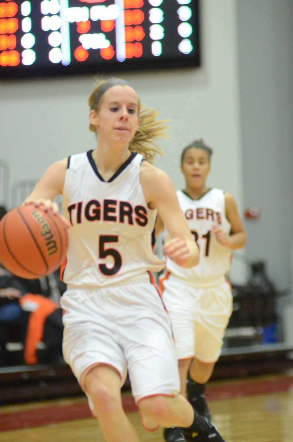 Senior guard Sarah Ray brings the ball up court Thursday night at Grace College. Ray helped the No. 10 Tigers remain undefeated with a 76-49 rout of Marion.