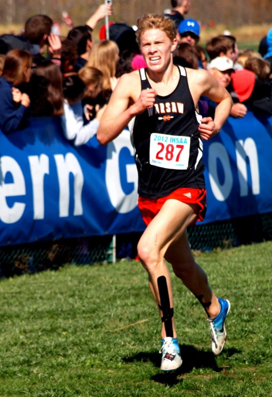 Jake Poyner nears the finish line at the State Finals in Terre Haute in October. The WCHS senior has chosen to continue his career at Wake Forest University (Photo provided by Tim Creason)