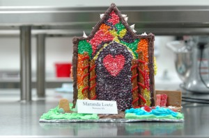 Students in the Culinary Arts Career Management class spent four weeks prior to Christmas break planning, prepping, baking, assembling and decorating elaborate gingerbread houses. All of the houses are entirely made of edible materials.