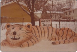 """During the Blizzard of 1978, school was out, there was a snow emergency so we couldn't go anywhere,"" writes Lance Grubbs. ""We stayed home and ate vegetable soup and chili for days. But we did get outside to shovel some snow and ended up making a snow tiger in the back yard at 733 E. Center St. We used food coloring and spray paint for the colors. It was a group effort!"""