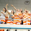 Warsaw's student sectional at the NLC featured the girls team dressed in authentic Kosciusko County jailsuits.