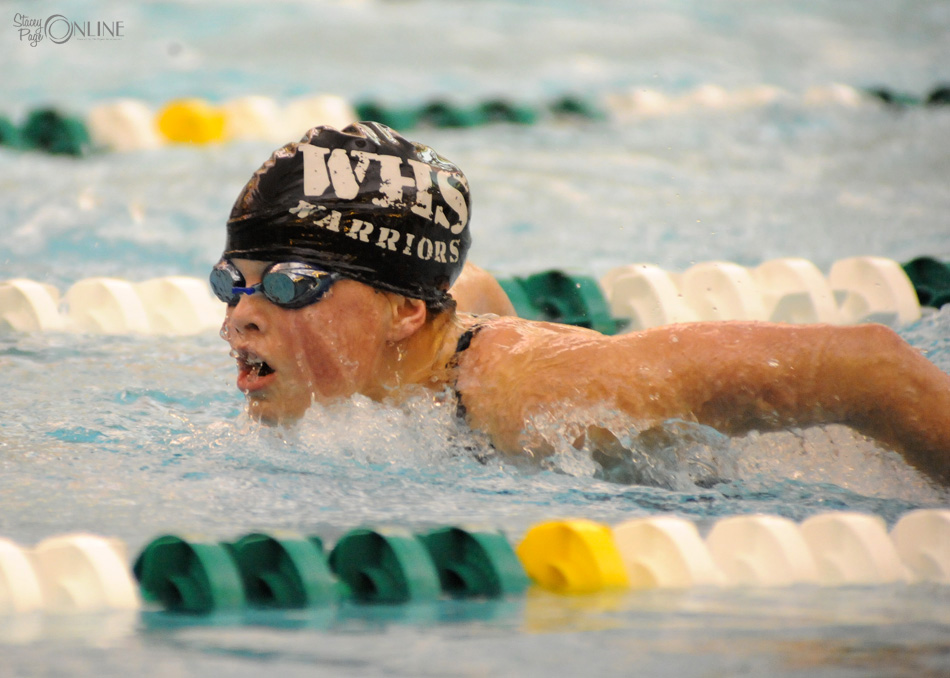 Wawasee's Cassidy Manning qualified for the final of the individual medley, one of 15 swims the Warriors will make in the Northridge Sectional finals Saturday afternoon. (Photos by Mike Deak)