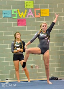 Molly Smith of Wawasee shows some swag during her floor performance.