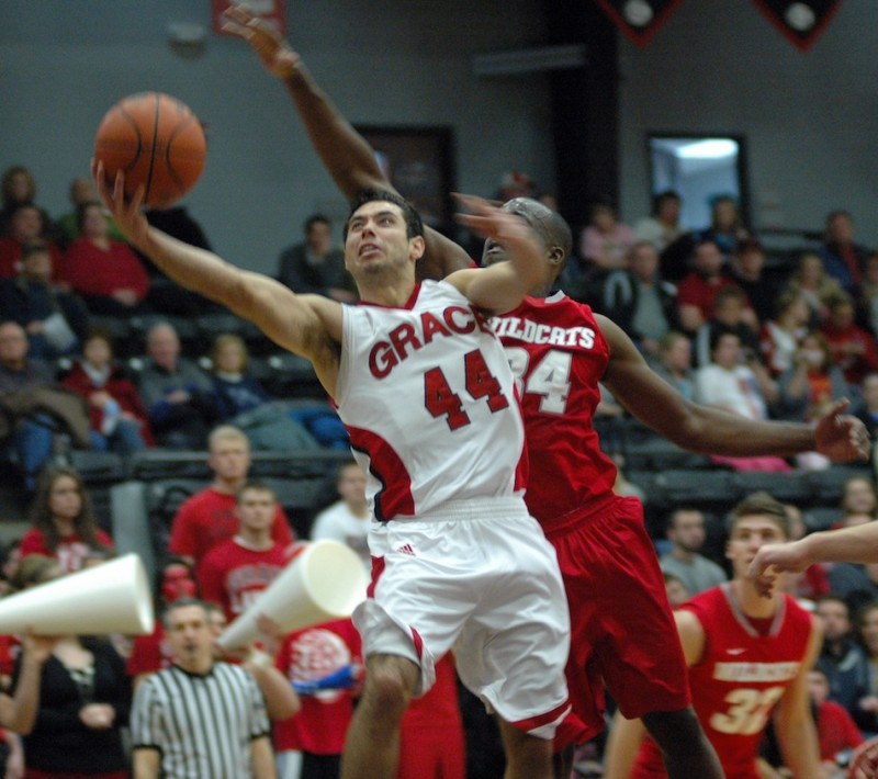 Bruce Grimm Jr. goes to the bucket Tuesday night during Grace's 80-77 win over No. 3 Indiana Wesleyan. Grimm scored 18 points as the No. 20 Lancers prevailed at home for a huge conference victory (Photo provided by Grace College Sports Information Department)