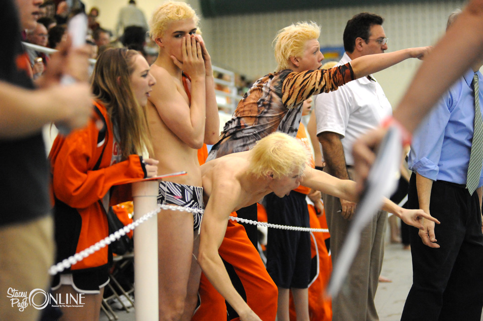 The Warsaw deck sends support poolside at the NLC Boys Swimming preliminaries Thursday night at Concord.