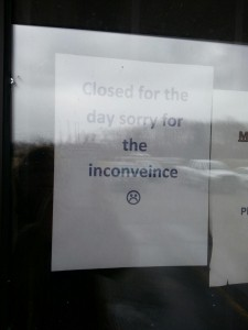A sign on the door at The Underground today says the business is closed, but for how long is yet to be seen. (Photo by Alyssa Richardson)