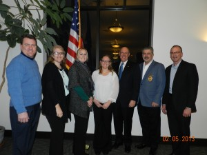 From left are speaker Mark Dobson, Warsaw Kosciusko County Chamber president and CEO; KLA Cadets Dee Ann Muraski, Grace College; Gennie Brissette-Tipton, OrthoWorx; Ashley Stills, Tommy Vance Productions; Michael Kubacki, Lake City Bank chairman and CEO; Tony Cirillo, Syracuse Chief of Police and KYLA moderator; and KLA Moderator Allyn Decker. (Photo provided)