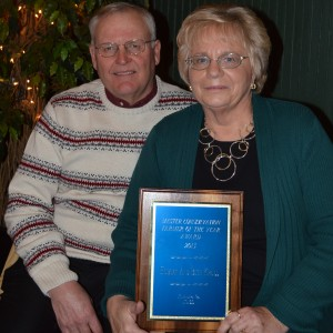 The Master Conservation Farmer Award went to Hubert and Beth Krull of Milford. They have promoted conservation and wise use of natural resources in the country through their involvement with the SWCD board and other efforts. (Photo by Deb Patterson)