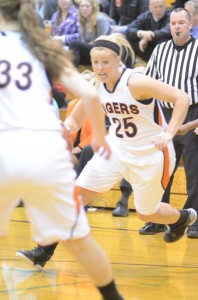 Lindsay Baker makes her way on a drive to the basket for Warsaw Tuesday night versus Elkhart Memorial.