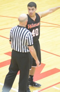 Rashaan Jackson makes a point with an official in the fourth quarter Thursday night.