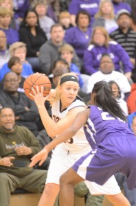 Lindsay Baker stares down a Merrillville defender in the regional title game Saturday night.