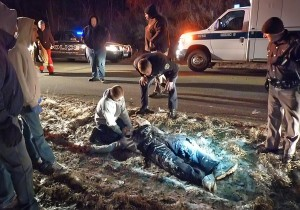 Hugo Alvarado is treated at the scene of a stabbing at Suburban Acres Trailer Park Wednesday night. (Photo provided by KCSD)